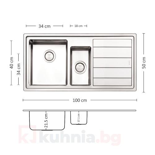 Мивка за вграждане MEGA 100.2 R/L TI