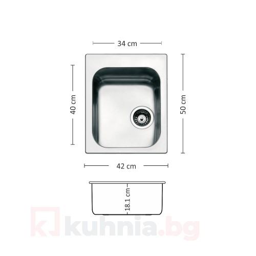 Мивка за вграждане над плот TORINO 420 SI LEKS