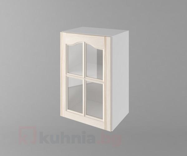 Горен кухненски шкаф с една врата за стъкло Астра - Крем