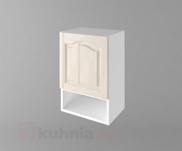 Горен кухненски шкаф с една врата и ниша Астра - Крем