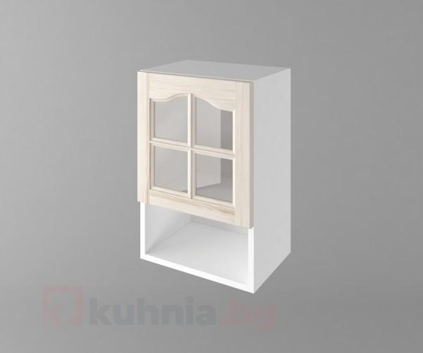 Горен кухненски шкаф с една врата за стъкло и ниша Астра - Крем