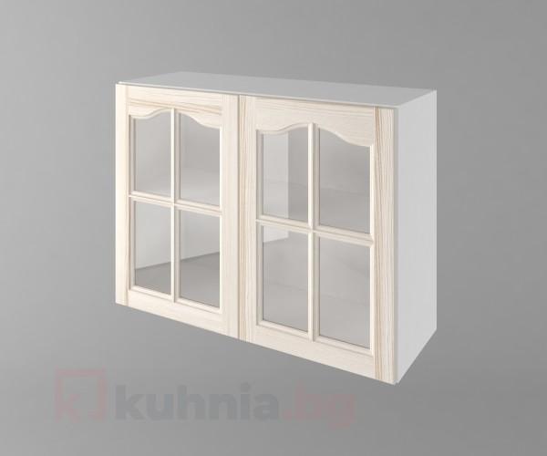 Горен кухненски шкаф с две врати за стъкло Астра - Крем