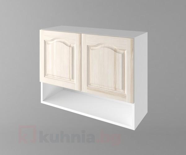 Горен кухненски шкаф с две врати и ниша Астра - Крем