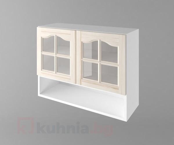 Горен кухненски шкаф с две врати за стъкло и ниша Астра - Крем
