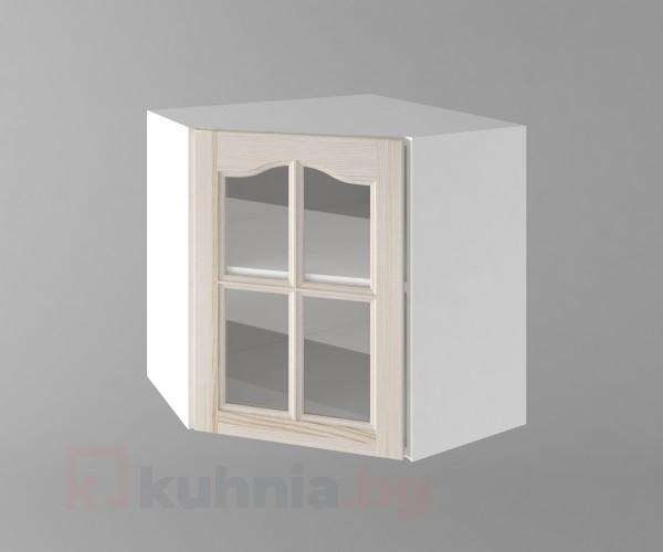 Горен кухненски шкаф за вътрешен ъгъл с една врата за стъкло б65в Астра - Крем