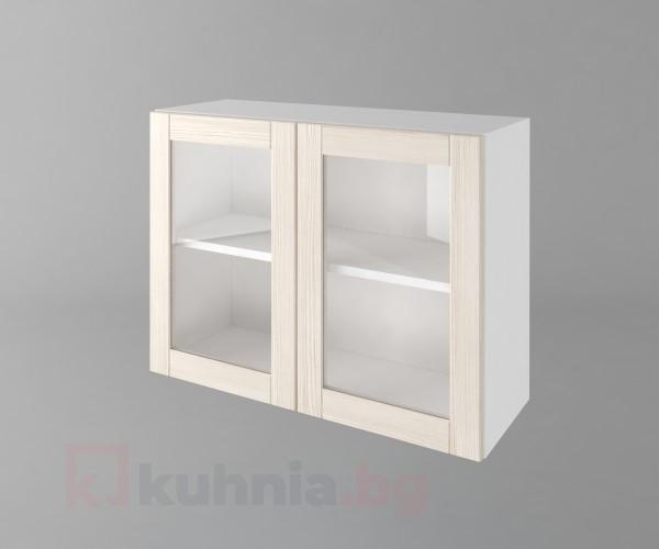 Горен кухненски шкаф с две врати за стъкло  Калатея - Крем