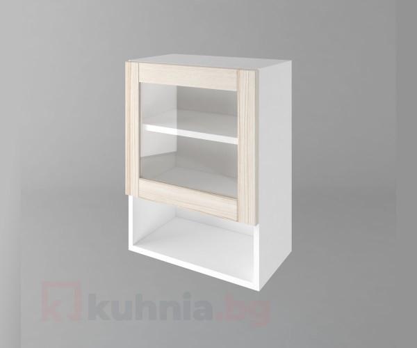 Горен кухненски шкаф с една врата за стъкло и ниша Калатея - Крем