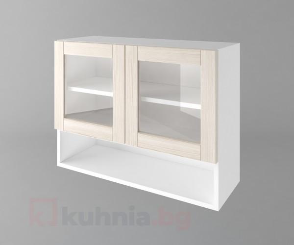 Горен кухненски шкаф с две врати за стъкло и ниша Калатея - Крем