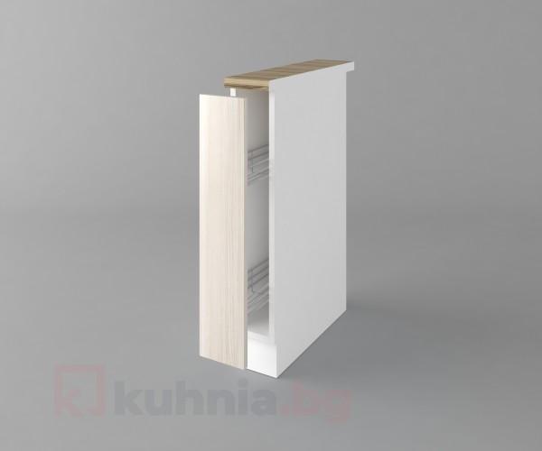 Долен кухненски шкаф с включен механизъм за бутилки Калатея - Крем