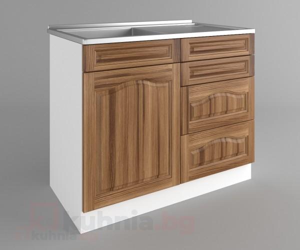 Долен кухненски шкаф с мивка - с четири работещи чекмеджета Астра - Канела