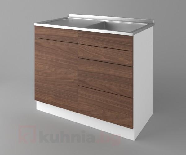 Долен кухненски шкаф с мивка - с четири работещи чекмеджета Атлас