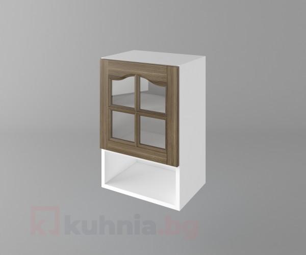 Горен кухненски шкаф с една врата за стъкло и ниша Астра - Ким