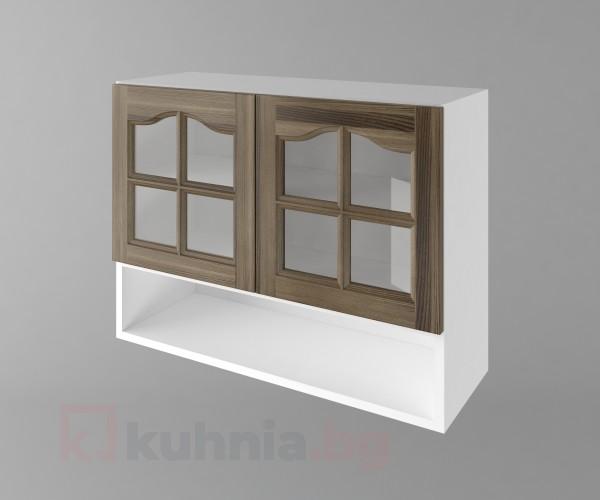 Горен кухненски шкаф с две врати за стъкло и ниша Астра - Ким