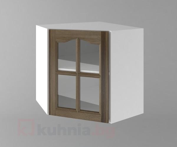 Горен кухненски шкаф за вътрешен ъгъл с една врата за стъкло Астра - Ким