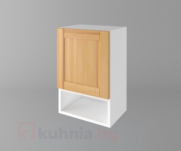 Горен кухненски шкаф с една врата и ниша Калатея - Натурална