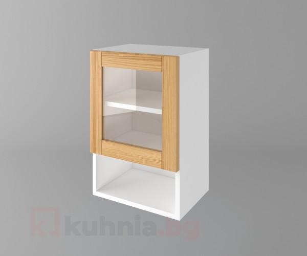 Горен кухненски шкаф с една врата за стъкло и ниша Калатея - Натурална
