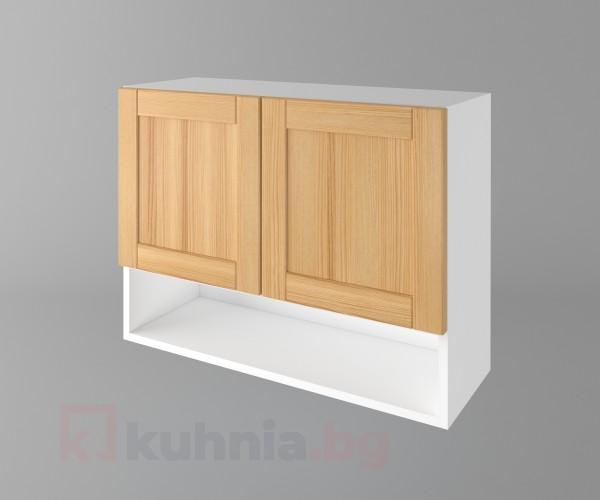 Горен кухненски шкаф с две врати и ниша Калатея - Натурална