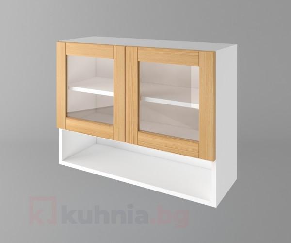 Горен кухненски шкаф с две врати за стъкло и ниша Калатея - Натурална