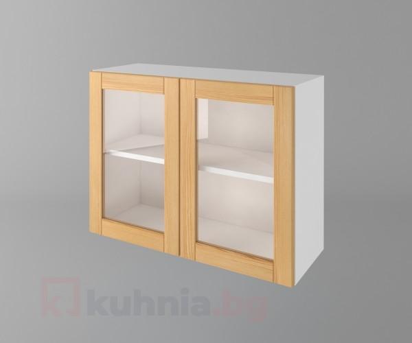 Горен кухненски шкаф с две врати за стъкло Калатея - Натурална