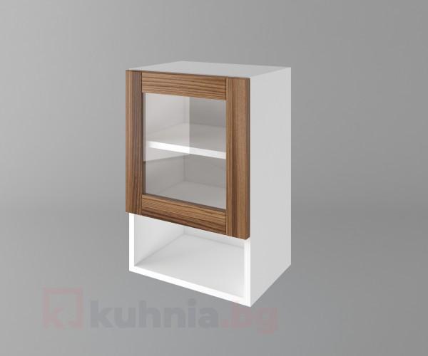 Горен кухненски шкаф с една врата за стъкло и ниша Калатея - Канела