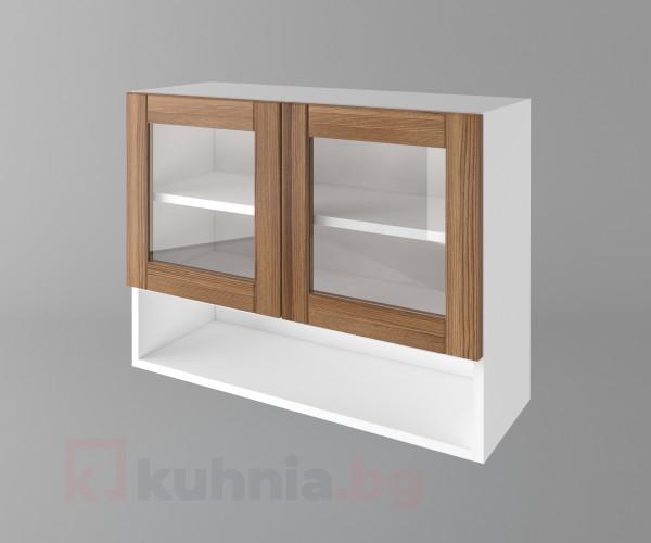 Горен кухненски шкаф с две врати за стъкло и ниша Калатея - Канела