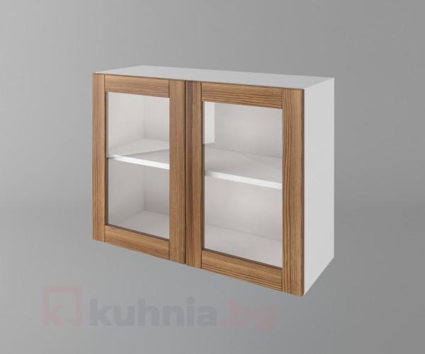 Горен кухненски шкаф с две врати за стъкло Калатея - Канела