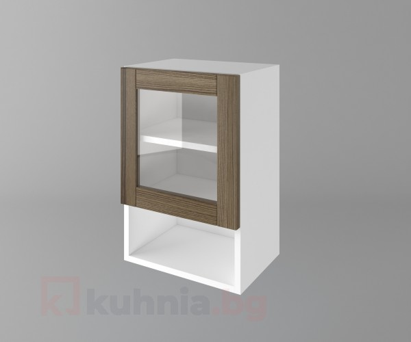 Горен кухненски шкаф с една врата за стъкло и ниша Калатея - Ким