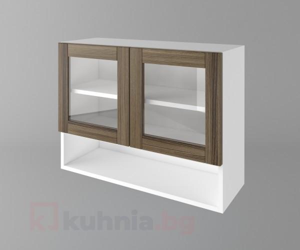 Горен кухненски шкаф с две врати за стъкло и ниша Калатея - Ким