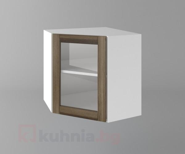 Горен кухненски шкаф за вътрешен ъгъл с една врата за стъкло Калатея - Ким