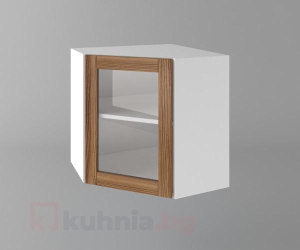 Горен кухненски шкаф за вътрешен ъгъл с една врата за стъкло Калатея - Канела