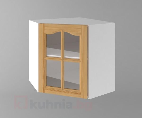 Горен кухненски шкаф за вътрешен ъгъл с една врата за стъкло Астра