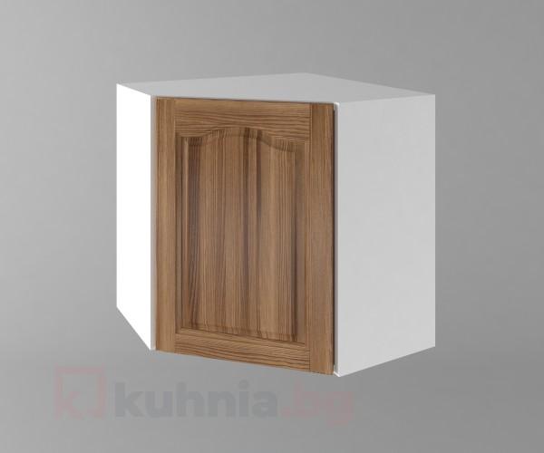 Горен кухненски шкаф за вътрешен ъгъл с една врата Астра - Канела