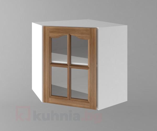 Горен кухненски шкаф за вътрешен ъгъл с една врата за стъкло  Астра - Канела