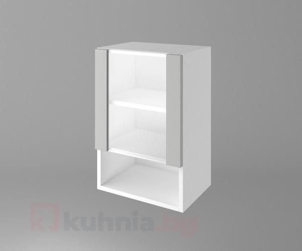 Горен кухненски шкаф с една врата със стъкло и ниша Мирта