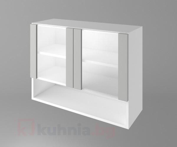Горен кухненски шкаф с две остъклени врати и ниша Мирта