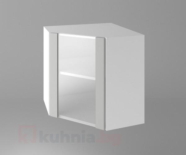 Горен кухненски шкаф за вътрешен ъгъл с една остъклена врата Мирта