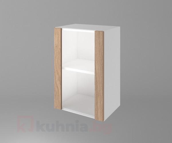 Горен кухненски шкаф с една остъклена врата Поларис
