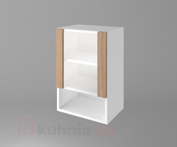 Горен кухненски шкаф с една врата със стъкло и ниша Поларис