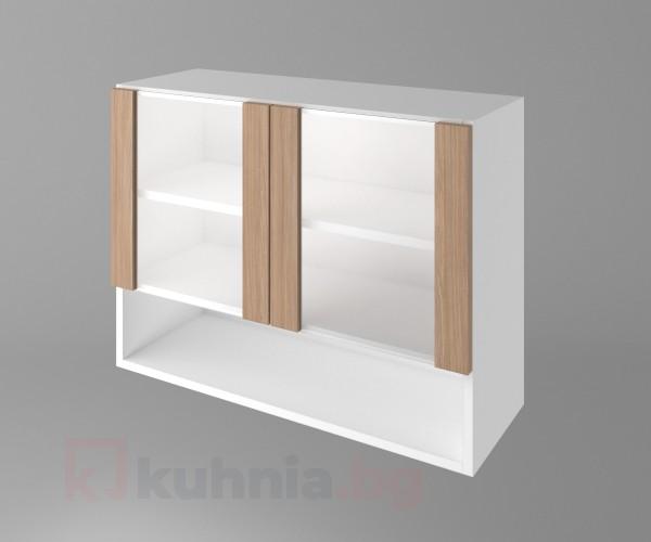 Горен кухненски шкаф с две остъклени врати и ниша Поларис
