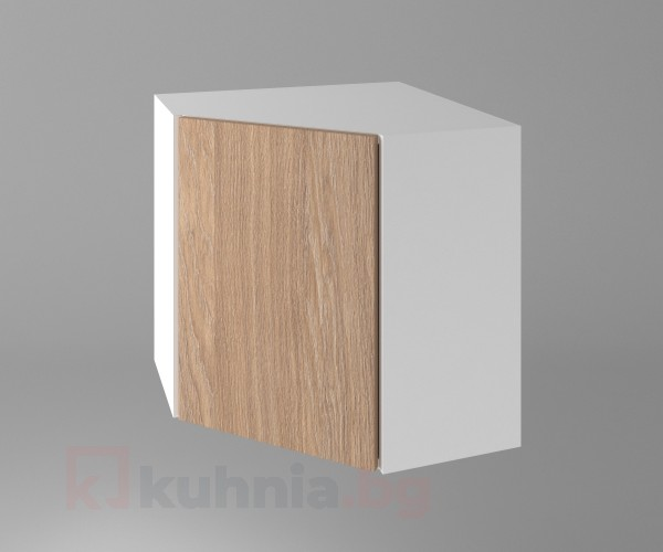 Горен кухненски шкаф за вътрешен ъгъл с една врата Поларис