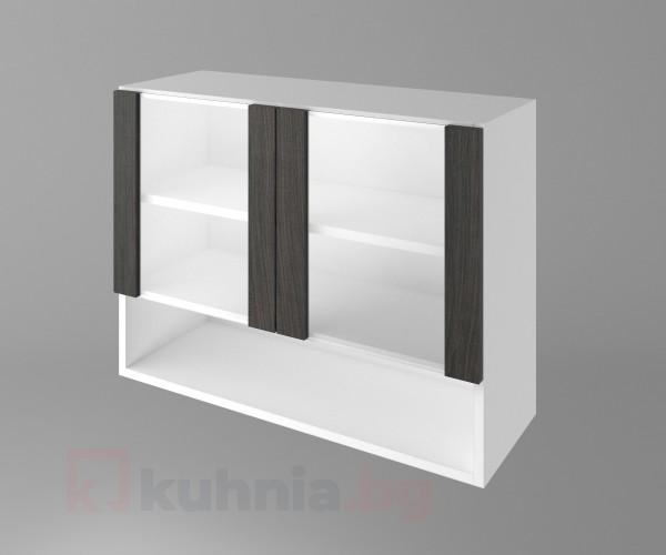 Горен кухненски шкаф с две остъклени врати и ниша Вега