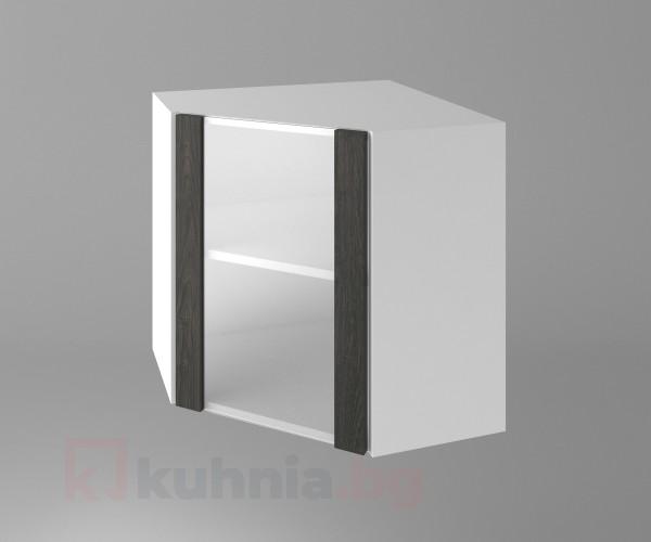 Горен кухненски шкаф за вътрешен ъгъл с една остъклена врата Вега