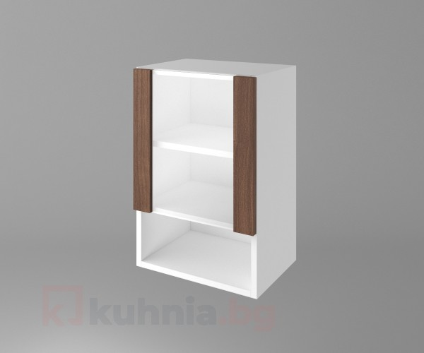 Горен кухненски шкаф с една врата със стъкло и ниша Атлас
