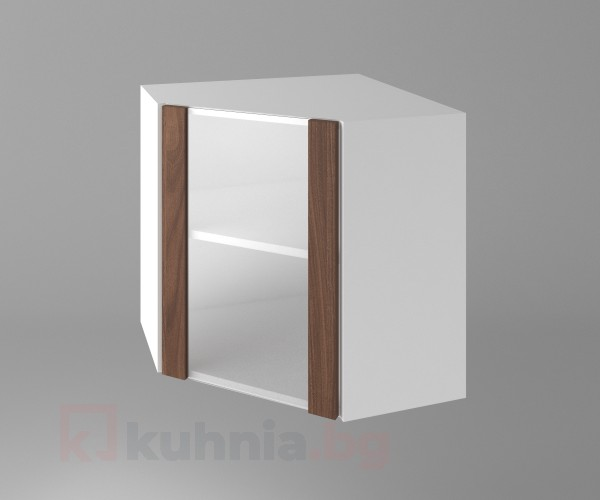 Горен кухненски шкаф за вътрешен ъгъл с една остъклена врата Атлас