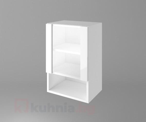 Горен кухненски шкаф с една врата със стъкло и ниша Нарцис гланц