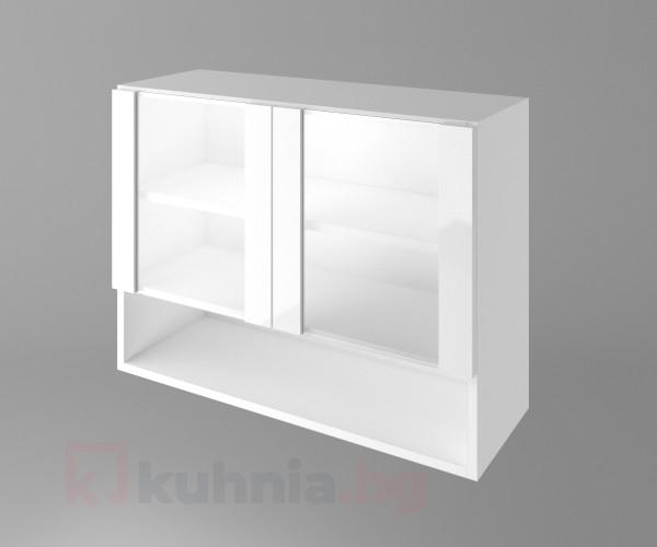 Горен кухненски шкаф с две остъклени врати и ниша Нарцис - Гланц