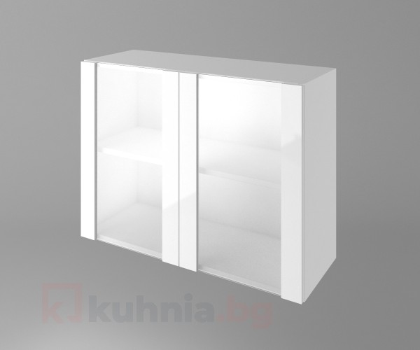 Горен кухненски шкаф с две остъклени врати Нарцис - Гланц