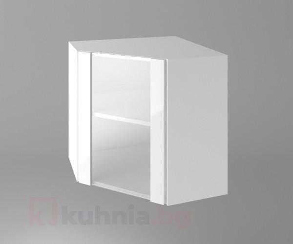 Горен кухненски шкаф за вътрешен ъгъл с една остъклена врата Нарцис гланц