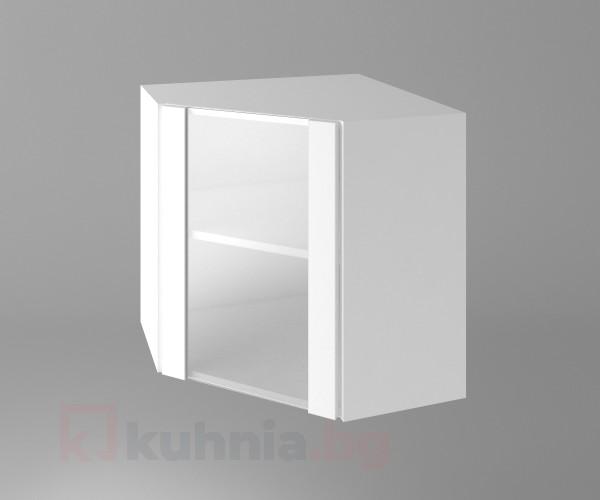 Горен кухненски шкаф за вътрешен ъгъл с една остъклена врата Нарцис