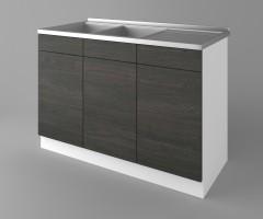 Долен кухненски шкаф с двукоритна мивка Вега 2